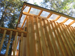 Cedar siding and clear twin wall polycarbonite roof